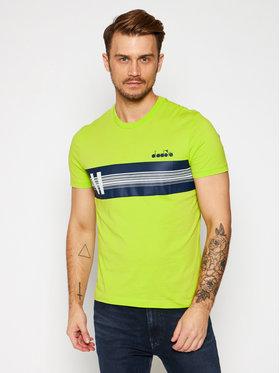 Diadora Diadora T-shirt Ss Blkbar 102.176424 Verde Regular Fit