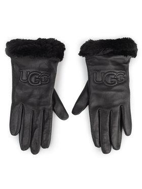 Ugg Ugg Dámské rukavice W Classic Leather Logo Glove 19034 Černá