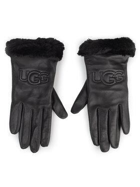 Ugg Ugg Moteriškos Pirštinės W Classic Leather Logo Glove 19034 Juoda