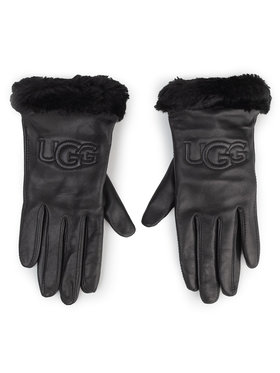 Ugg Ugg Női kesztyű W Classic Leather Logo Glove 19034 Fekete