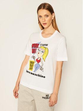 LOVE MOSCHINO LOVE MOSCHINO T-Shirt W4F152MM 3876 Biały Regular Fit