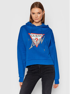 Guess Guess Džemperis Icon W1BQ09 K68I1 Tamsiai mėlyna Boxy Fit