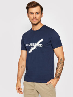 Trussardi Trussardi T-Shirt Logo 52T00521 Granatowy Regular Fit