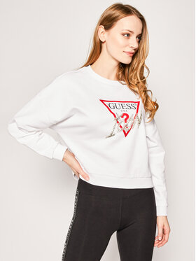 Guess Guess Mikina Icon Fleece W0GQ18 K68I0 Bílá Regular Fit