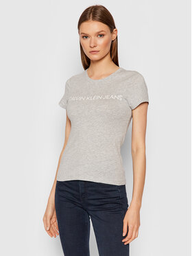 Calvin Klein Jeans Calvin Klein Jeans T-Shirt Logo J20J207879 Šedá Slim Fit