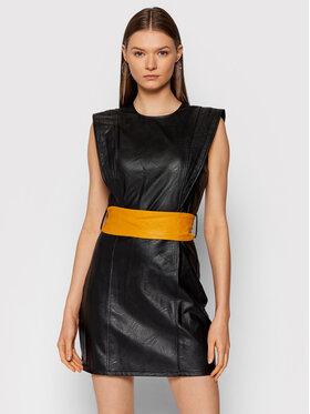Rinascimento Rinascimento Šaty z imitácie kože CFC0104858003 Čierna Slim Fit