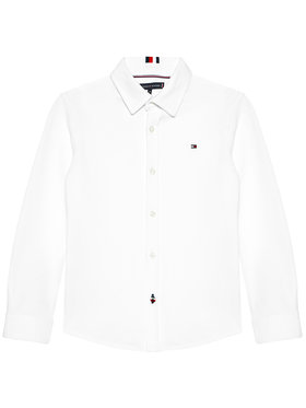 Tommy Hilfiger Tommy Hilfiger Koszula Stretch Pique KB0KB06332 M Biały Regular Fit