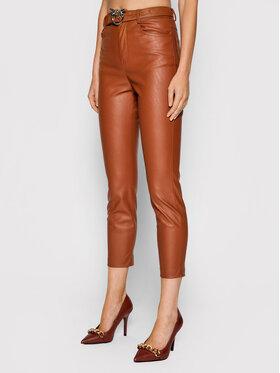 Pinko Pinko Kalhoty z imitace kůže Susan AI 21-22 BLK01 1G16WU 7105 Hnědá Skinny Fit
