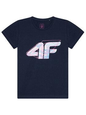 4F 4F Marškinėliai HJL21-JTSD003 Tamsiai mėlyna Regular Fit