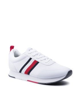 Tommy Hilfiger Tommy Hilfiger Sneakersy Retro Knit Stripes Runner FM0FM03610 Biały