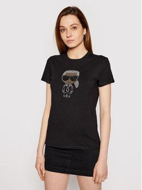 KARL LAGERFELD KARL LAGERFELD T-shirt Ikonik Rhinestone Karl 210W1726 Noir Regular Fit