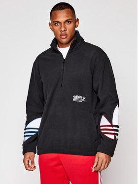 adidas adidas Fleecová mikina adicolor Tricolor Fleece Half-Zip GN8043 Čierna Loose Fit