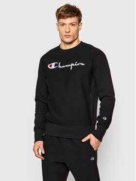 Champion Champion Pulóver Embroidered Script Logo Reverse Weave 216539 Fekete Regular Fit