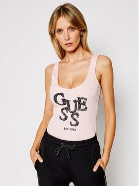 Guess Guess Marškinėliai Arlene W1GP0J K1811 Rožinė Slim Fit