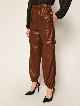 MSGM MSGM Kalhoty z imitace kůže 2941MDP04 207652 Hnědá Regular Fit