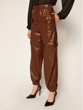 MSGM MSGM Pantaloni din imitație de piele 2941MDP04 207652 Maro Regular Fit