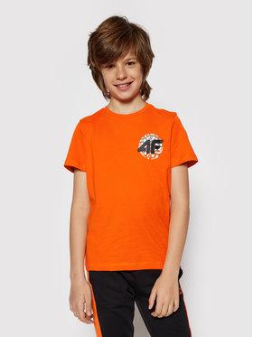 4F 4F T-Shirt HJL21-JTSM012A Oranžová Regular Fit