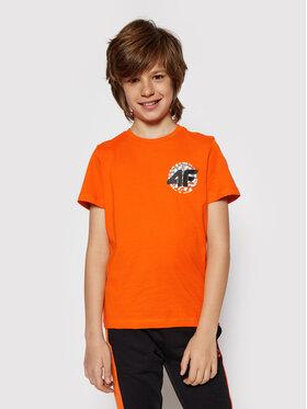 4F 4F T-Shirt HJL21-JTSM012A Pomarańczowy Regular Fit