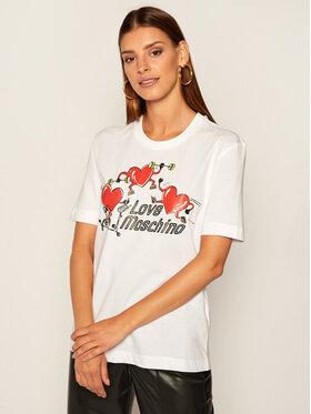LOVE MOSCHINO LOVE MOSCHINO Marškinėliai W4H0602M 3876 Balta Regular Fit