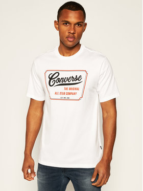 Converse Converse T-Shirt 10018853-A02 Biały Regular Fit