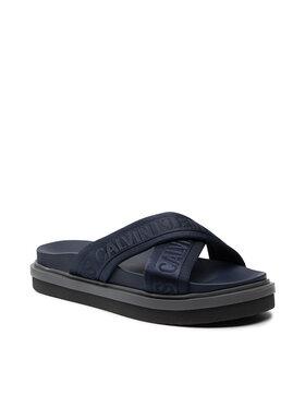 Calvin Klein Jeans Calvin Klein Jeans Klapki Flat Sandal Crisscross Pes YM0YM00069 Granatowy