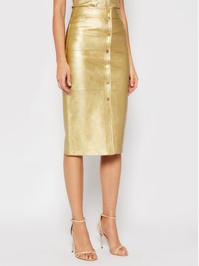Pinko Pinko Kožená sukně UNIQUENESS Cherubini 20211 UNQS 1Q1089 Y6VG Zlatá Slim Fit
