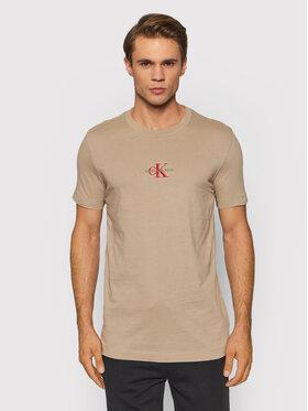Calvin Klein Jeans Calvin Klein Jeans Tričko J30J317092 Béžová Slim Fit