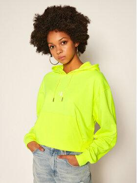Calvin Klein Jeans Calvin Klein Jeans Sweatshirt Back Logo Cropped J20J214218 Jaune Loose Fit