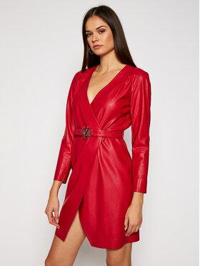 Pinko Pinko Sukienka skórzana Similpelle 2021 BLK01 1G152B Y6BE Czerwony Regular Fit