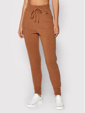 TWINSET TWINSET Spodnie materiałowe 212TT3124 Brązowy Regular Fit