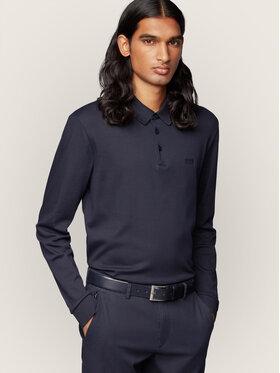 Boss Boss Тениска с яка и копчета Paddo 11 50391826 Тъмносин Regular Fit