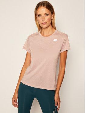 New Balance New Balance Тениска от техническо трико Impact Run Ss NBWT01234 Розов Slim Fit