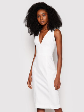 Guess Guess Φόρεμα τζιν W1GK17 D4DN1 Λευκό Regular Fit