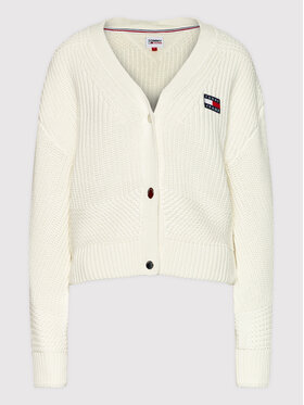 Tommy Jeans Tommy Jeans Kardigan Badge DW0DW10997 Biały Relaxed Fit