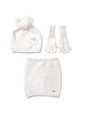 Mayoral Mayoral Комплект шапка, шал тип комин и ръкавици 10699 Бял