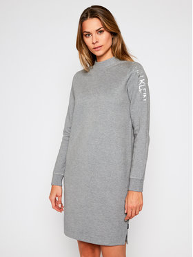 Calvin Klein Calvin Klein Kötött ruha Ls Funnel Neck Calvin Logo K20K202390 Szürke Regular Fit