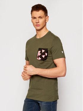 Guess Guess T-Shirt Multitude M0YI59 I3Z11 Zielony Slim Fit