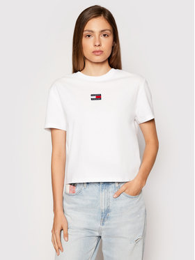 Tommy Jeans Tommy Jeans Tricou Tjw Center Badge DW0DW10404 Alb Regular Fit