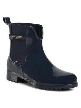 Tommy Hilfiger Tommy Hilfiger Cizme de cauciuc Block Branding Rainboot FW0FW05202 Bleumarin