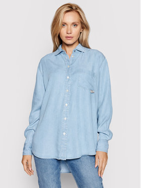 Guess Guess džinsiniai marškiniai Pauleta W1GH36 D4D22 Mėlyna Oversize