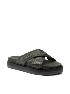 Calvin Klein Jeans Calvin Klein Jeans Чехли Flat Sandal Crisscross Pes YM0YM00069 Зелен