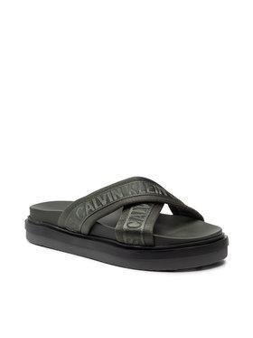 Calvin Klein Jeans Calvin Klein Jeans Klapki Flat Sandal Crisscross Pes YM0YM00069 Zielony