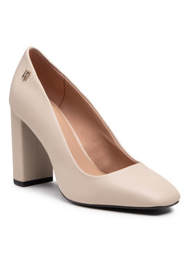 Tommy Hilfiger Tommy Hilfiger Обувки Square Toe Pump FW0FW05436 Бежов