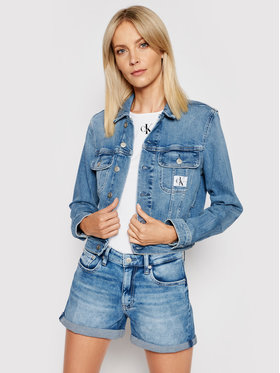Calvin Klein Jeans Calvin Klein Jeans Kurtka jeansowa J20J216305 Niebieski Cropped Fit