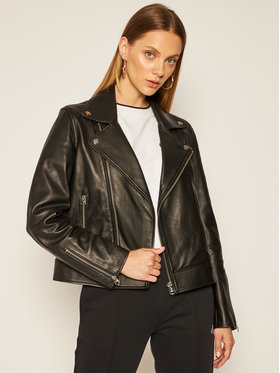 Calvin Klein Calvin Klein Kožená bunda Essential K20K202057 Čierna Regular Fit
