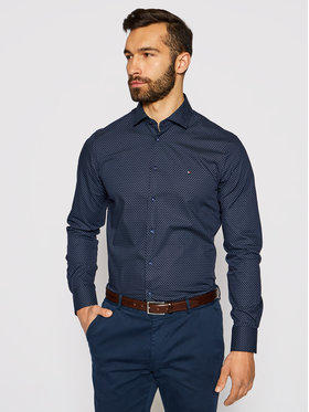 Tommy Hilfiger Tailored Tommy Hilfiger Tailored Koszula Dot Print MW0MW16505 Granatowy Slim Fit