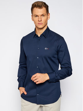 Tommy Hilfiger Tailored Tommy Hilfiger Tailored Košile MERCEDES-BENZ Tech Flex Woven TT0TT08305 Tmavomodrá Slim Fit