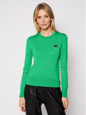 Pinko Pinko Sweter Starter PE 21 BLK01 1G15ZF Y6XB Zielony Regular Fit