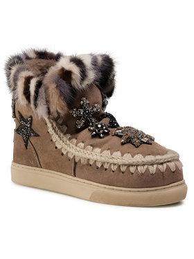Mou Mou Buty Eskimo Sneaker Star Patch&Mink FW111006A Brązowy