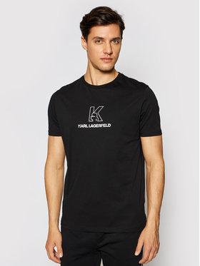 KARL LAGERFELD KARL LAGERFELD Marškinėliai Crewneck 755048 511220 Juoda Regular Fit